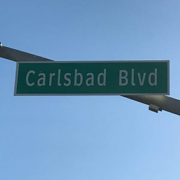 carlsbad-\ ca calsbad ave street sign